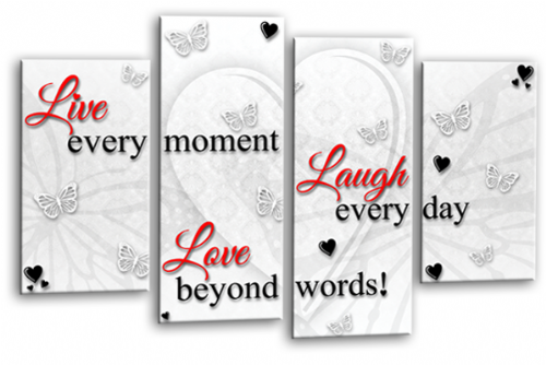 Love Quote Wall Art Picture Live Laugh Print White Red Black
